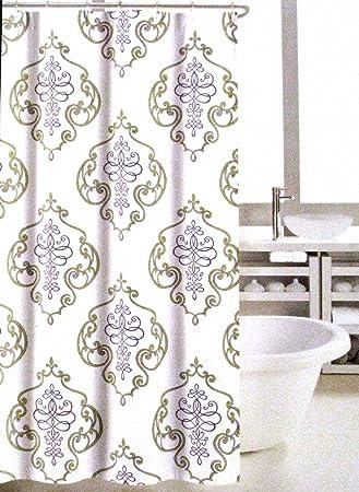 Nicole Miller Home Fabric Shower Curtain, Regal Medallion (Green U0026 Purple)