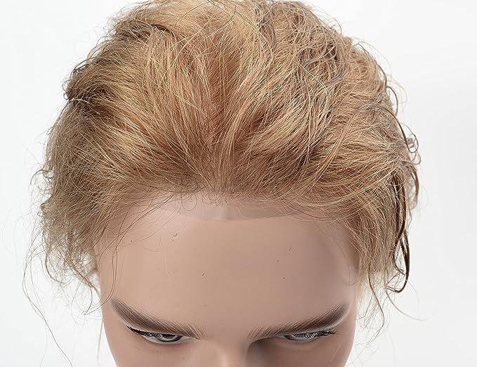 Lordhair Ultra Fina Piel V-looped Cabello Humano Sistema de Repuesto 18 # Color de Pelo Toupee Para Hombres: Amazon.es: Belleza