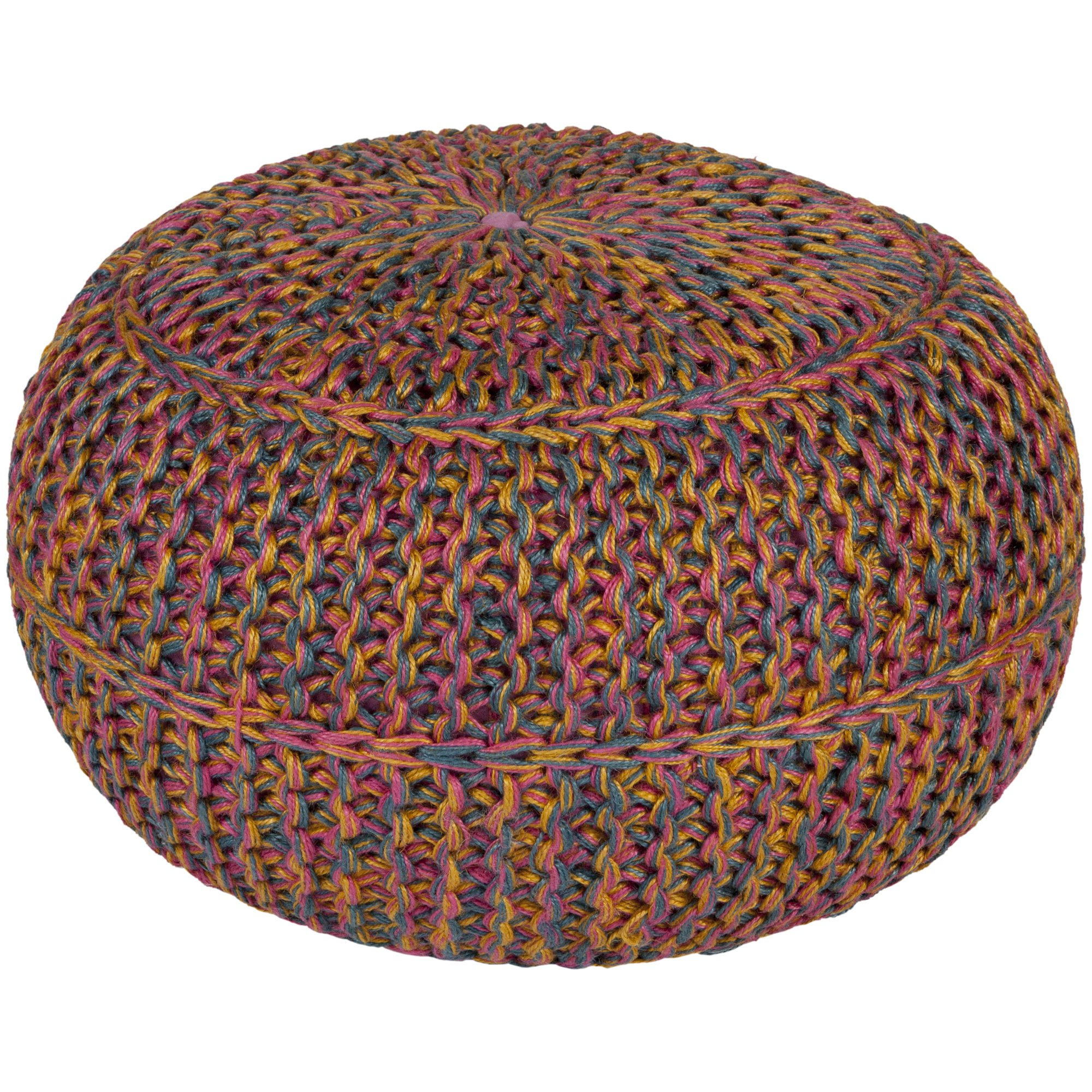 Surya WTPF-002 100-Percent Jute Pouf, 20-Inch by 20-Inch by 14-Inch, Carnation/Gold/Teal