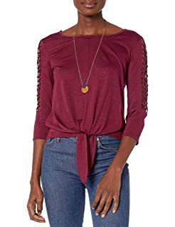 A Juniors Byer Womens Knit Tank with Woven Tie-Front Popover