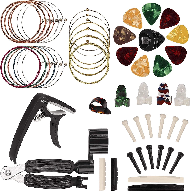Kit de Accesorios de Guitarra, Herramientas para Cambiar la Cuerda, 51 Pcs que Incluye Cuerdas de Guitarra, Púas, Cortador de Cuerda Enrollador, para Principiantes Ukelele Violín
