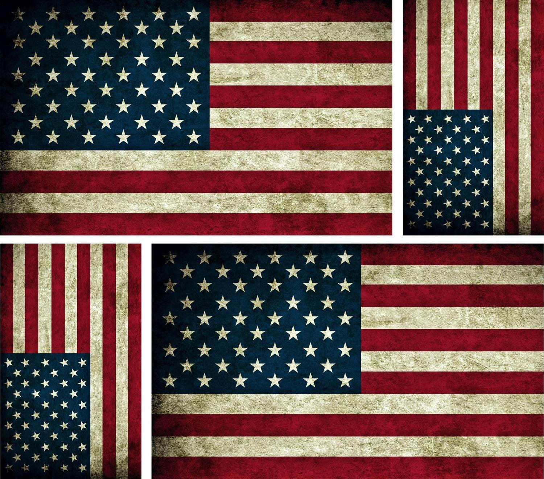 4 x sticker autocollant drapeau usa vintage voiture moto americain biker macbook