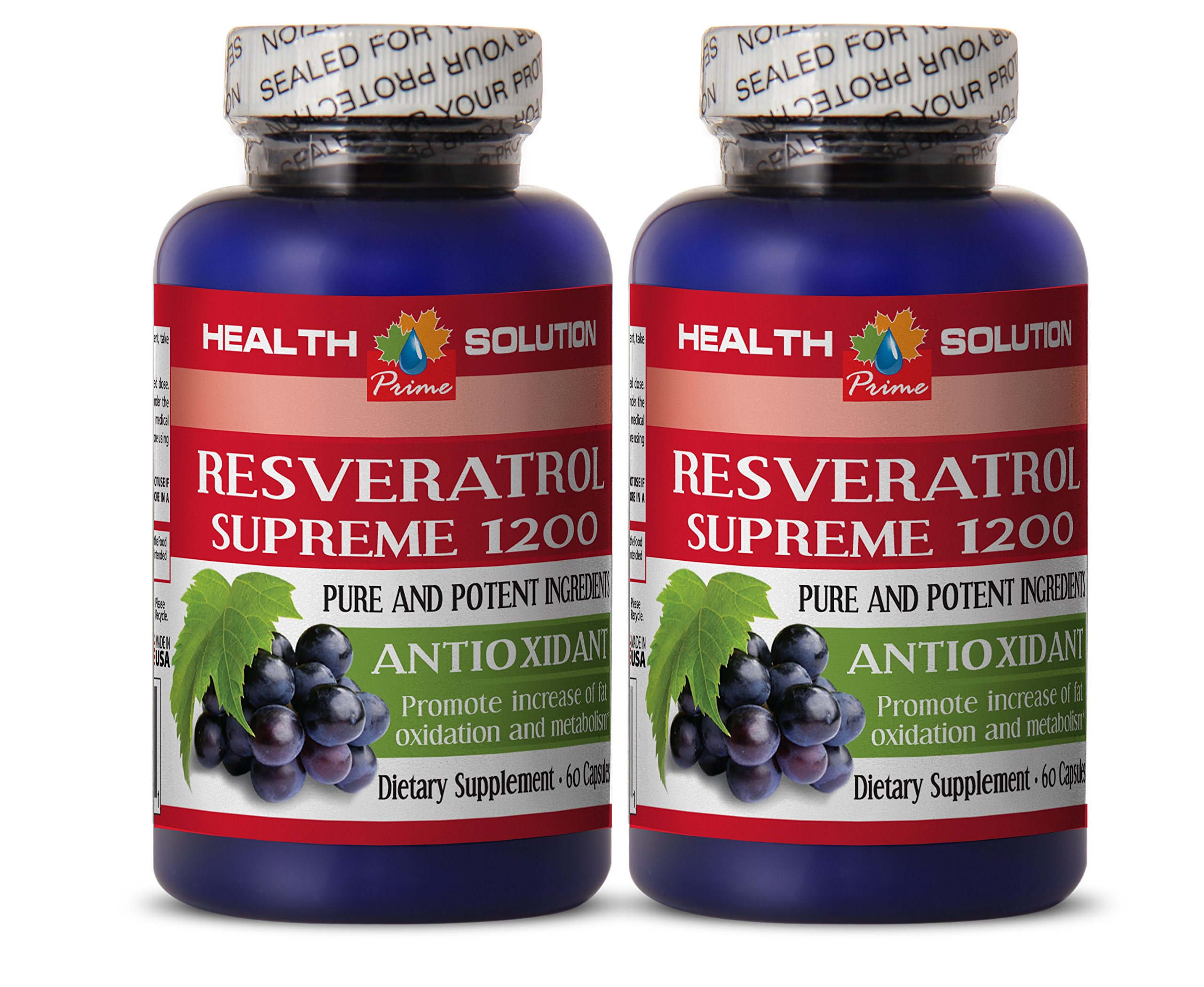 Testosterone booster for men sex - RESVERATROL SUPREME 1200 - Resveratrol vitamins - 2 Bottle 120 Capsules