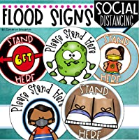 Social Distancing Floor Sign Markers for Lining Up