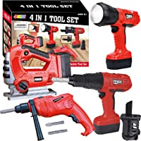 JOYIN 4-in-1 Realistic Construction Tool Toy Electric Tool Playset Construction Pretend Play STEM Tool Toy Kit with…