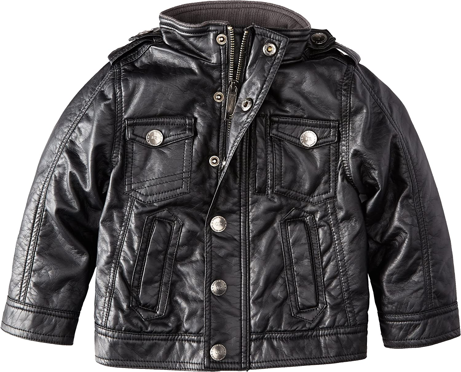 Urban Republic Boys Jersey Melange with Faux Leather Sleeves