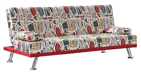 LIQUIDATODO ® - Sofá cama con sistema de apertura clic clac estampado