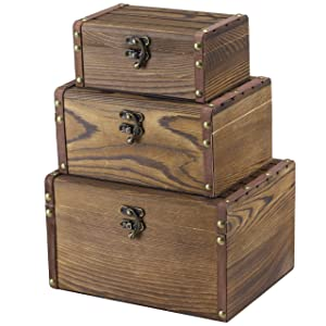 MyGift Set of 3 Vintage Style Wood Decorative Nesting Boxes, Jewelry & Trinket Storage Chests with Latch, Brown