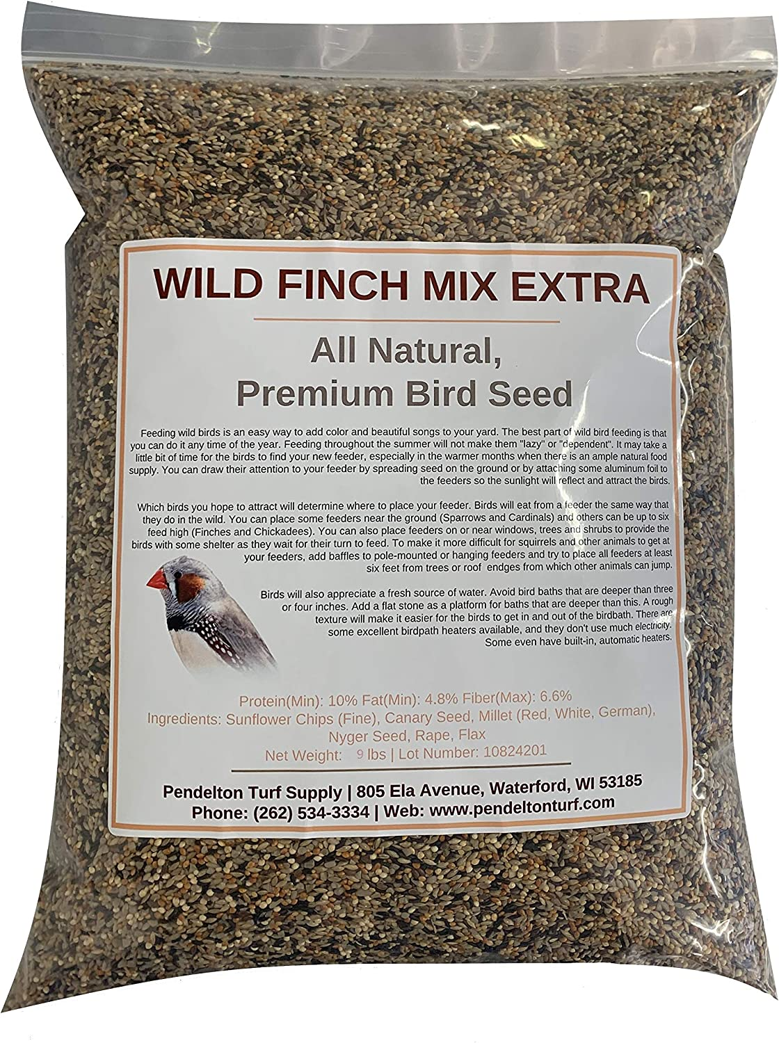 Pendelton Turf Supply Wild Finch Mix Extra | All-Natural, Premium Bird Seed (9 lbs Resealable Bag)