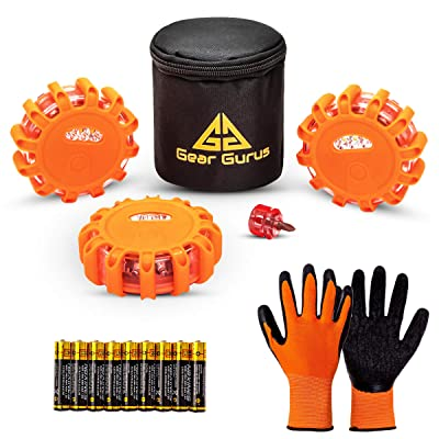 Gear Gurus LED Road Flares Kit (Pack of 3) - Flashing Warning Light Emergency Disc Beacon Roadside Flare Safety Light Magnetic Base for Car Truck Boat - Batteries Screwdriver Storage Bag Included: Automotive