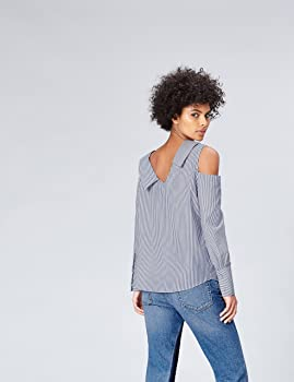 Marca Amazon - find. Camisa Asimétrica Oversize de Rayas para Mujer, Multicolor (Blue/white Stripe), 36, Label: XS: Amazon.es: Ropa y accesorios