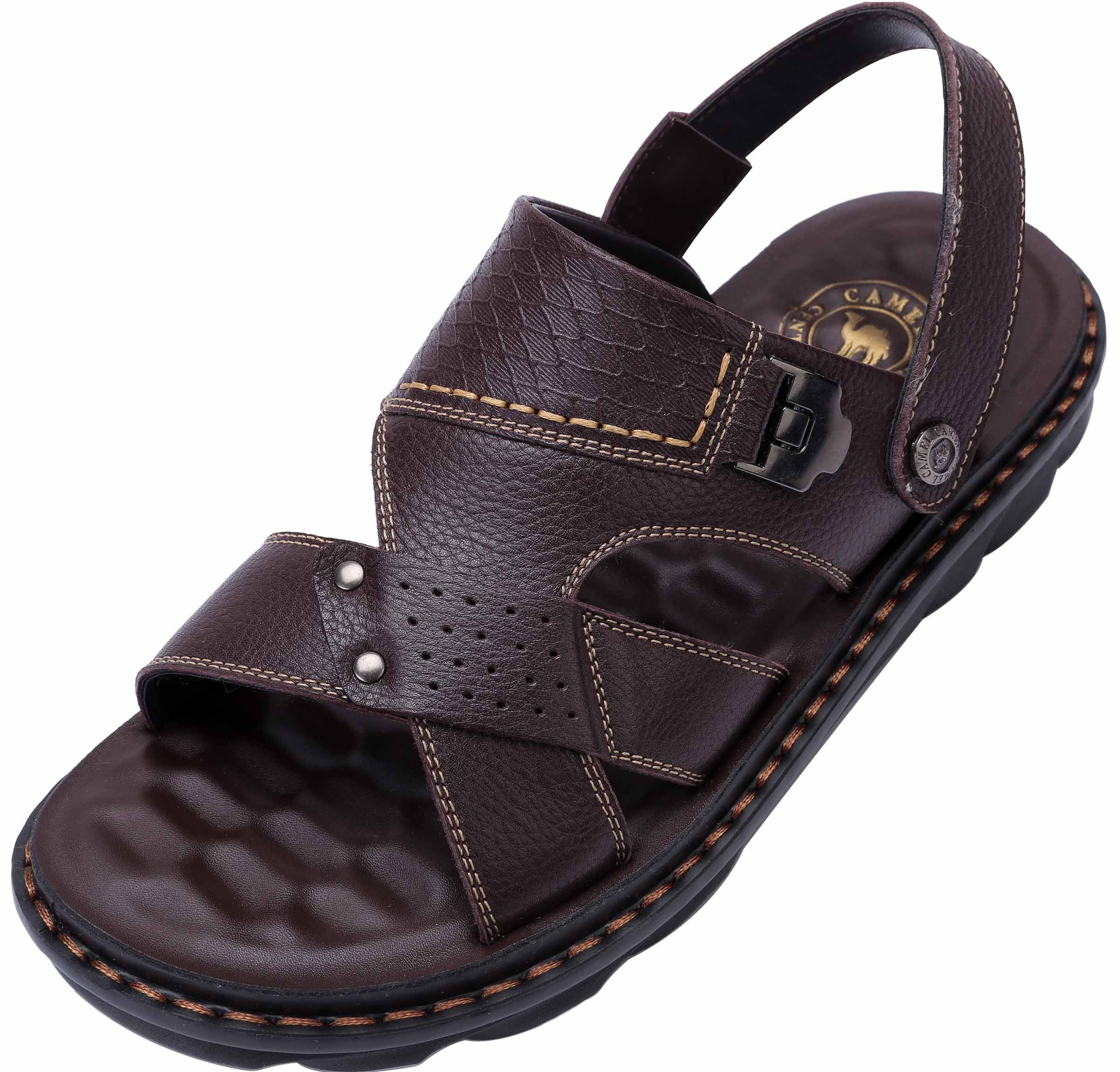 Camel Men's Summer Comfortable Leather Open-Toe Sandal Adjustable Straps Beach Walking Shoes for Outdoors, Dark Brown 270mm