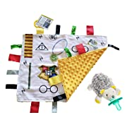 Lovey Baby Tag Minky Dot Blanket Bundle with Wubbanub Pacifier (Wizard Sunshine Hedgehog)
