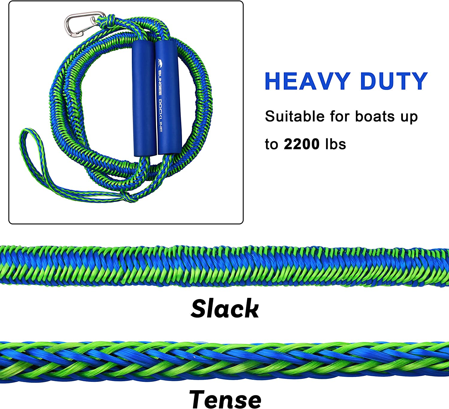 Foam Float Docking Rope Mooring Boat Rope for Docking,PWC,Jet ski,Kayak Shaddock Fishing PWC Bungee Dock Lines Stretchable,2 Pack Bungee Cord with 316 Stainless Steel Clip