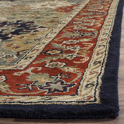 Safavieh English Manor Collection EMS733A Handmade Multi and Red Premium Wool Area Rug 8 x 10