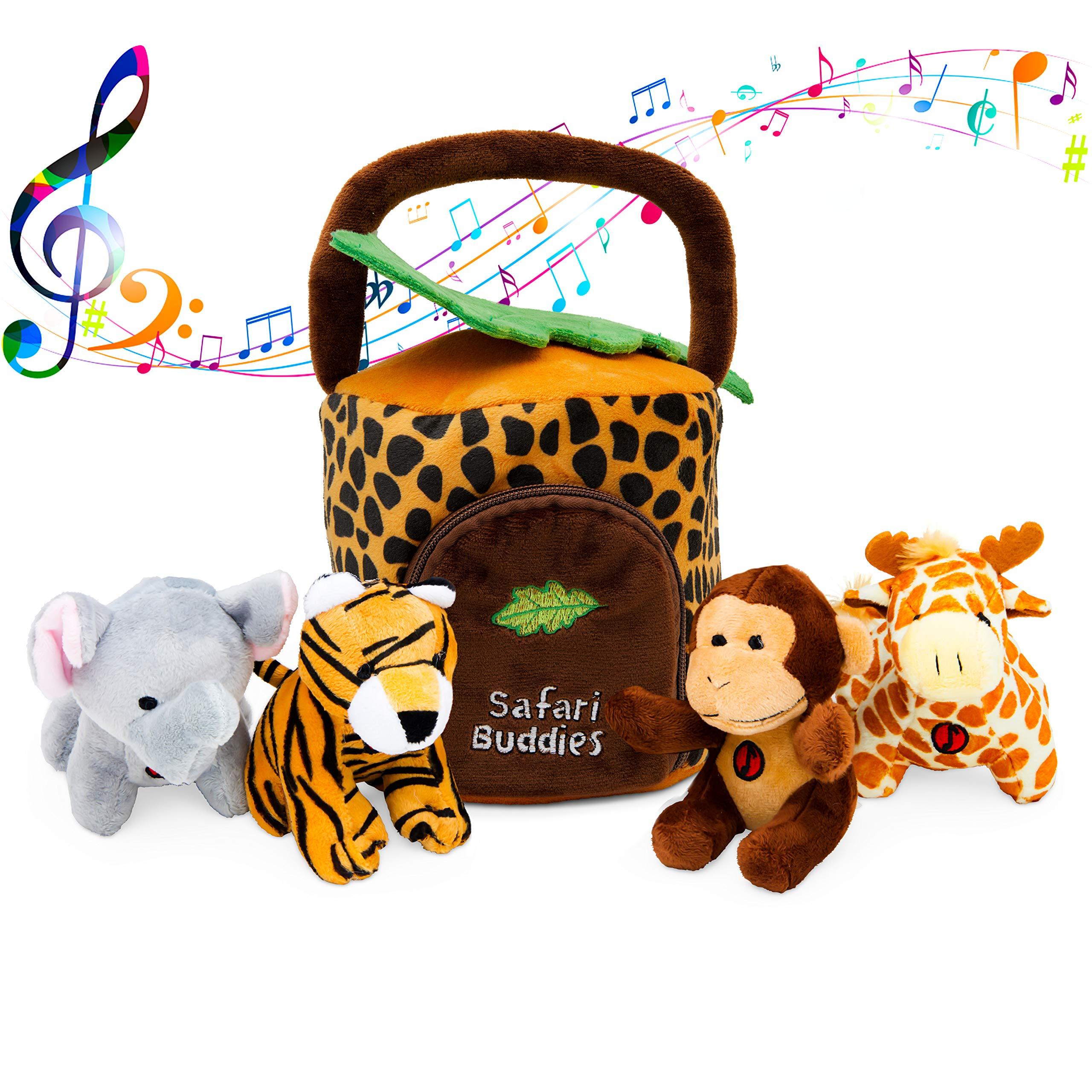 Plush Talking Jungle Animals Toy Set Plush Creations (5 Pcs) | Baby Stuffed Animal Set Includes Elephant, Monkey, Giraffe, Tiger Plush Carrier/Organizer | Great Gift Boys, Girls, Baby Shower by Plush Creations