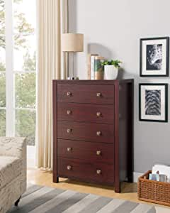 """Major-Q Id80k16018 Modern Contemporary Design 44"""" H Home Bedroom Wooden Utility Storage 5 Drawer Dresser Cabinet Chest Mahogany Finish"""