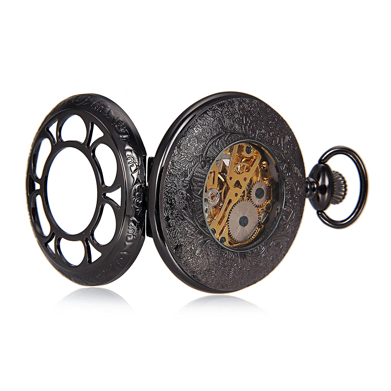 Amazon.com: Black Flower Hollow Case Roman Number Skeleton Mechanical Pocket Watch With Chain For Women Men reloj de bolsillo: Watches