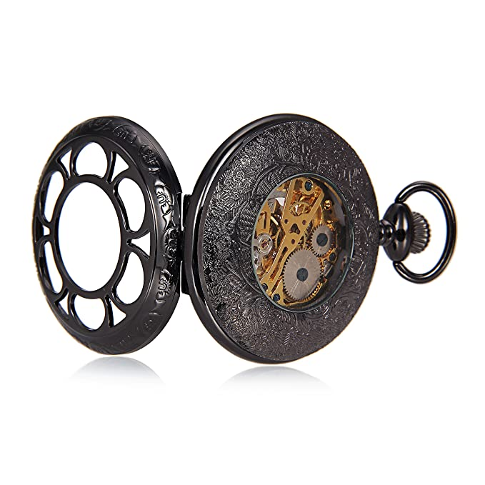 Amazon.com: Black Flower Hollow Case Roman Number Skeleton Mechanical Pocket Watch With Chain For Women Men reloj de bolsillo: Watches