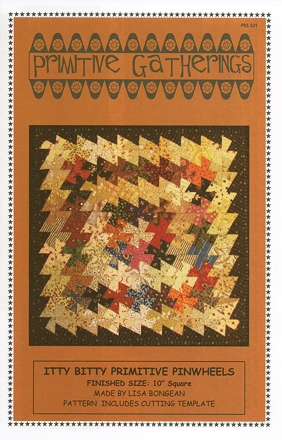 Itty Bitty Primitive Pinwheels Pattern ~ Pinwheel Tool Quilting Template Ruler by Primitive Gatherings ~ 1 Finished Pinwheel ~ 10 Finished Block by Primitive Gatherings 4336997480