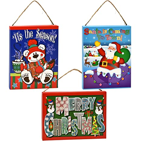 Amazoncom Gift Boutique Merry Christmas Signs Set Of 3 Christmas