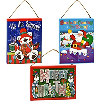 3 christmas signs christmas wall decorations santa and snowman decorations indoor props wall dcor banners winter - Office Christmas Party Decorations