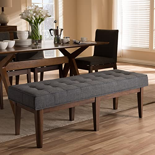 Button-Tufted Bench in Dark Gray and Walnut Brown Finish
