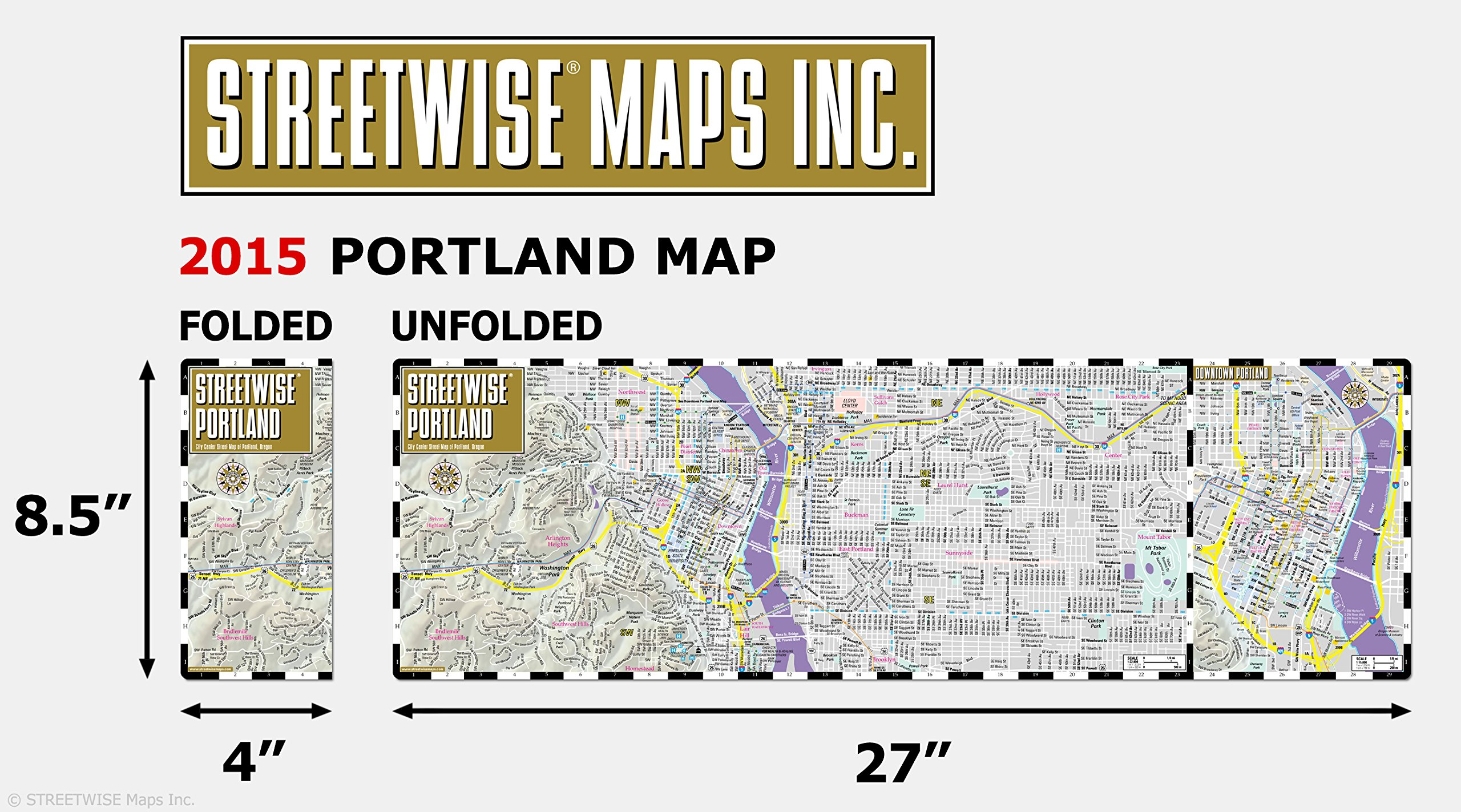 Streetwise Portland Map - Laminated City Center Street Map of ...