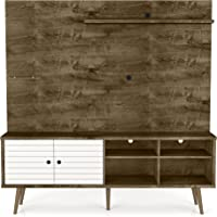 Manhattan Comfort Liberty 70.87 in. Rustic Brown and White Freestanding Entertainment Center
