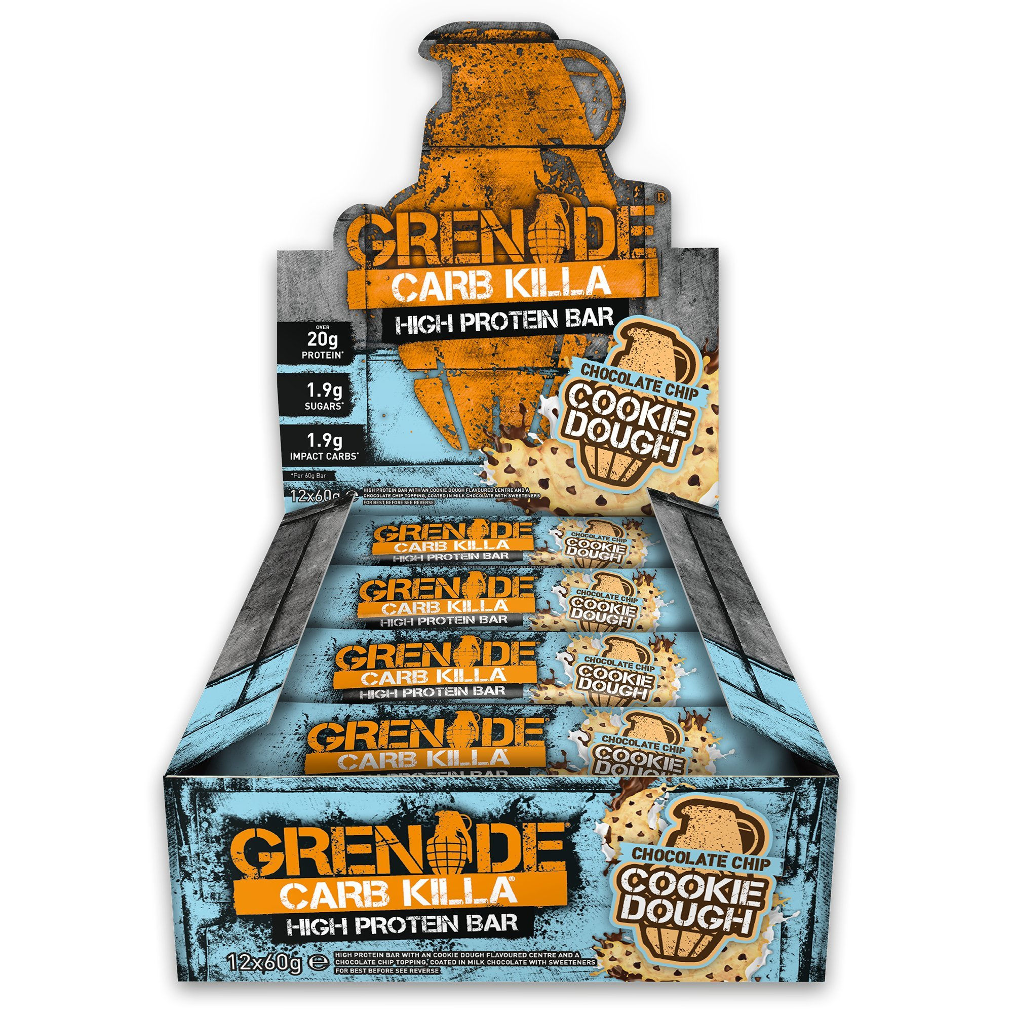 Grenade Carb Killa High Protein and Low Carb Bar, 12 x 60 g - Choc Chip Cookie Dough product image