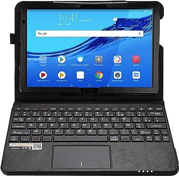 MQ - Funda con teclado francés AZERTY para Huawei MediaPad M5 Lite WiFi, Huawei MediaPad M5 Lite LTE 10.1 | Funda con teclado Bluetooth, Touchpad ...
