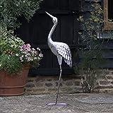 Creekwood 48067Crane Bird Statue Ornament 107cm Höhe, Silber, 15x 49x 107cm