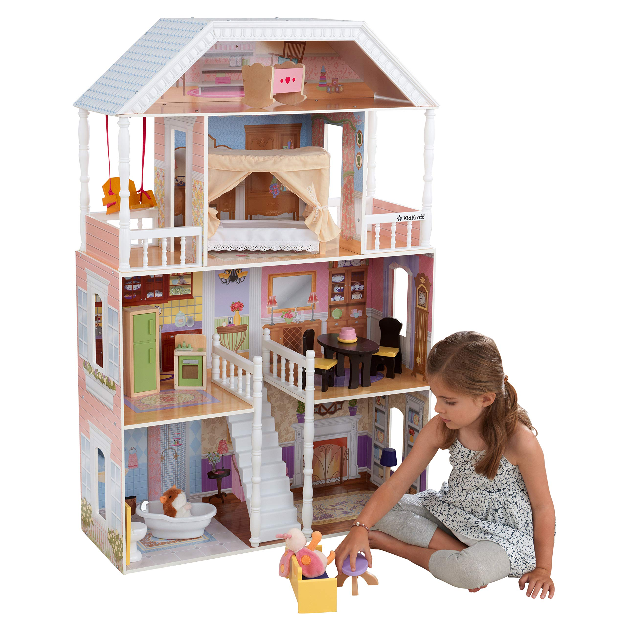 KidKraft Savannah Wooden Dollhouse, Over 4 Feet Tall with Porch Swing and 14 Accessories ,Gift for Ages 3+