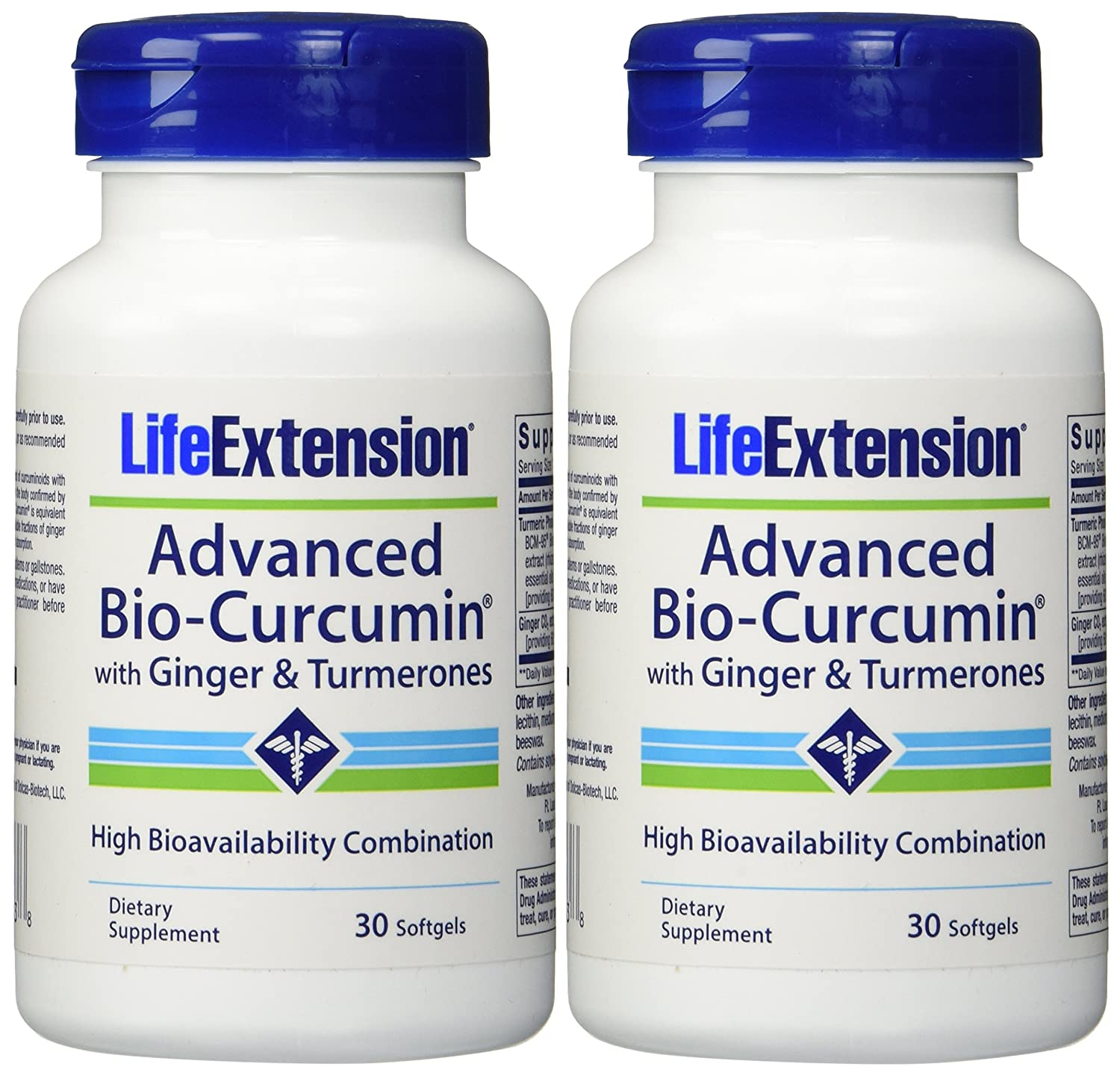Life Extension Advanced Bio-curcumin with Ginger and Turmerones 30 Softgels 2-Pack