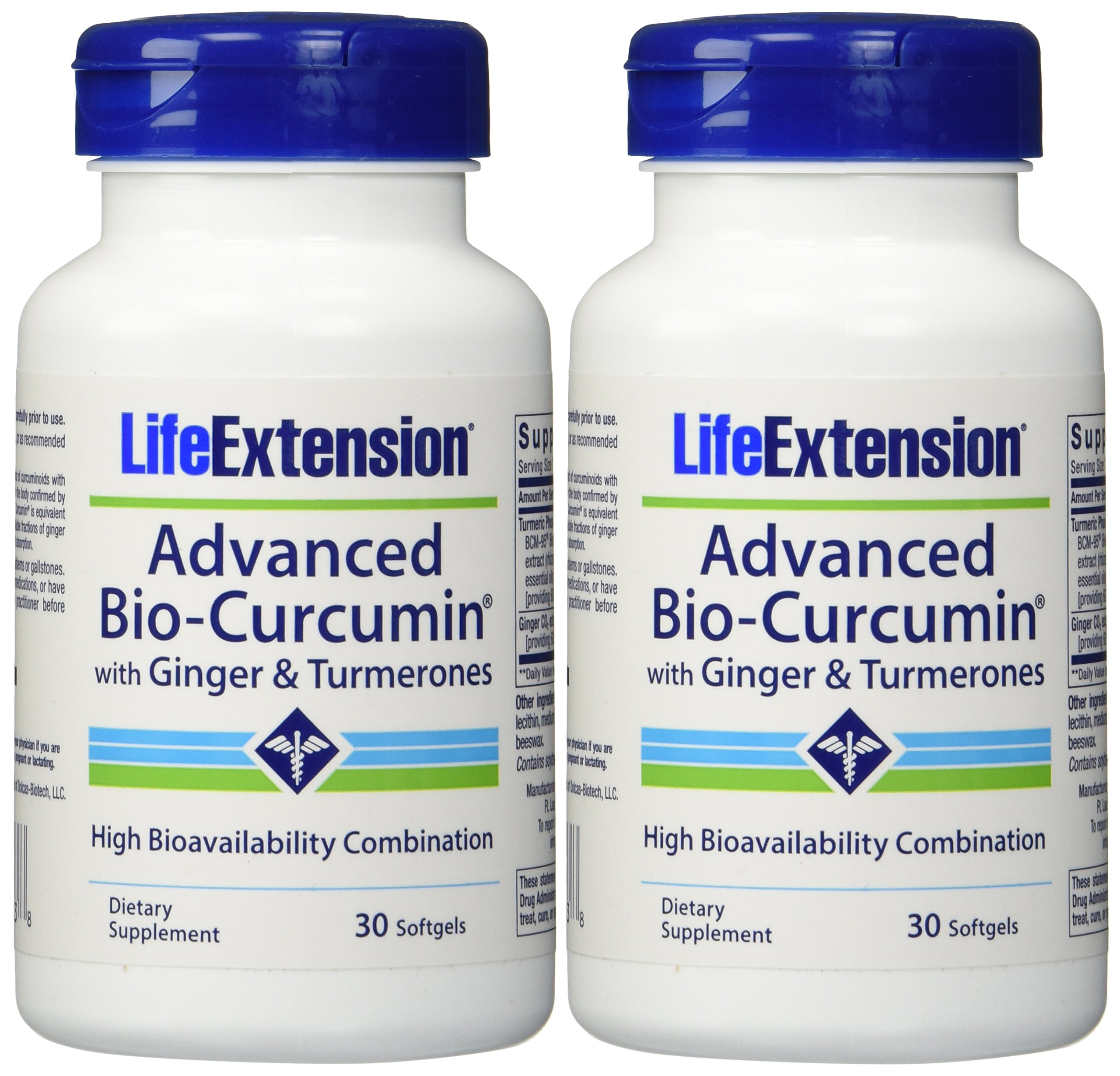 Life Extension Advanced Bio-curcumin with Ginger and Turmerones 30 Softgels (2-Pack)