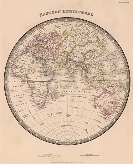 Amazon.com: World Atlas | 1864 Eastern Hemisphere | Historic Antique ...