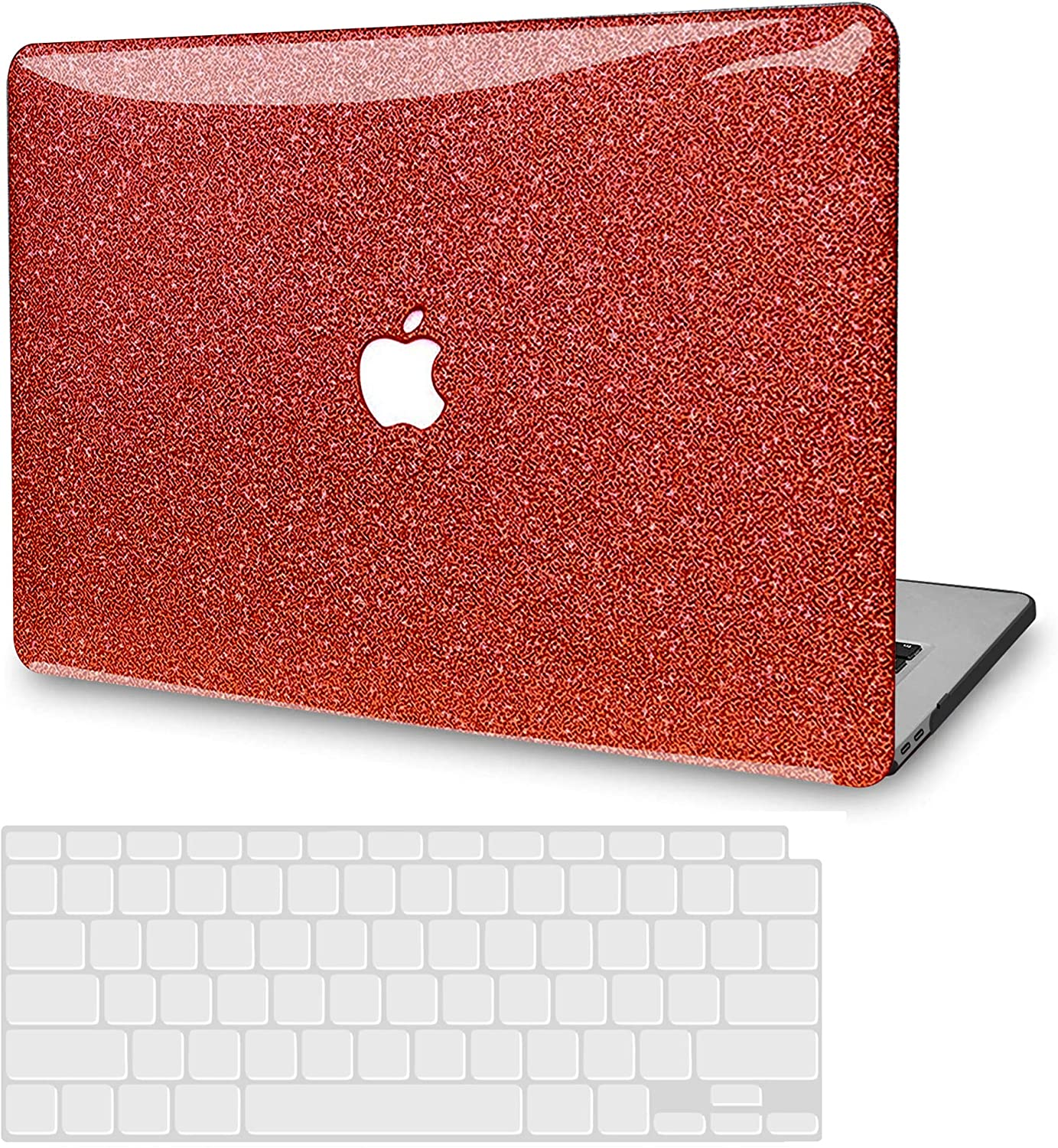 MacBook Pro 13 Inch Case 2019 2018 2017 2016 Release A2159 A1989 A1706 A1708, JGOO Glitter Sparkly Slim Plastic Hard Shell Cover with Keyboard Cover for Apple Mac Pro 13 with/Without Touch Bar, Red