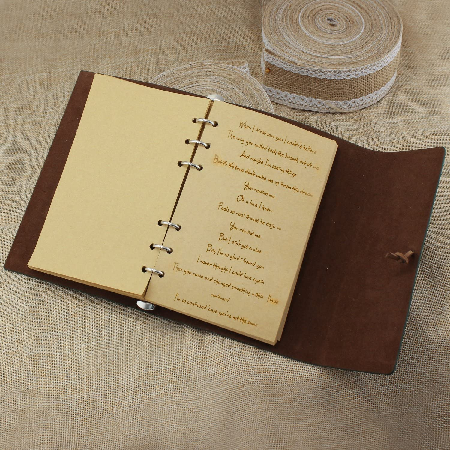 Vintage Gold Brown PU Leather Cover Loose Leaf Blank Notebook Journal Diary Gift