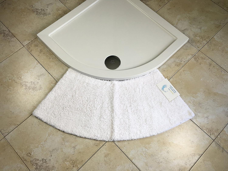 Cazsplash Petit Tapis de Douche Arrondi en Quart de Cercle, Microfibre,  Blanc, Taille M