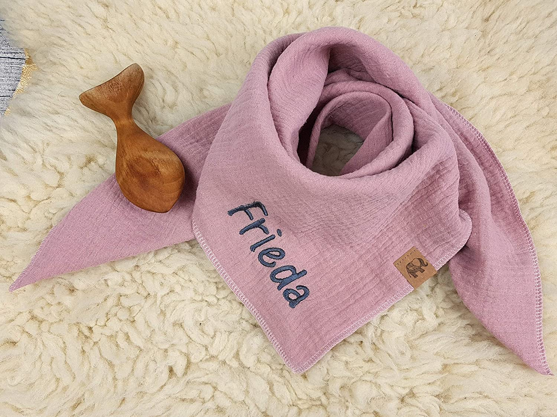 Baby Fleece Halstuch mit Namen bestickt Dreieckstuch personalisiert Schal Tuch
