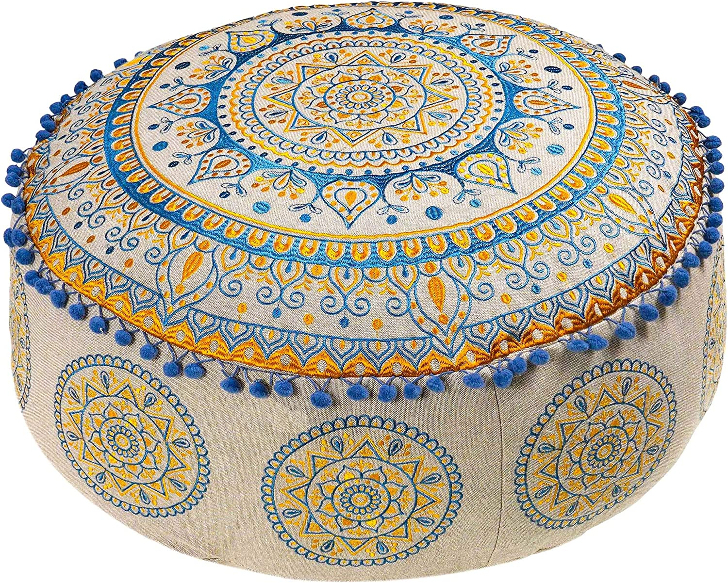 Mandala Life ART Bohemian Pouf Ottoman Cover -24x8 inchees - Luxury, Artisan Room Décor Pouffe for Meditation, Yoga, and Boho Chic Seating Area Stool Floor Pillow Case