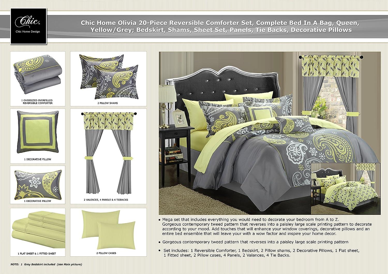 amazon com chic home olivia 20 piece comforter set reversible