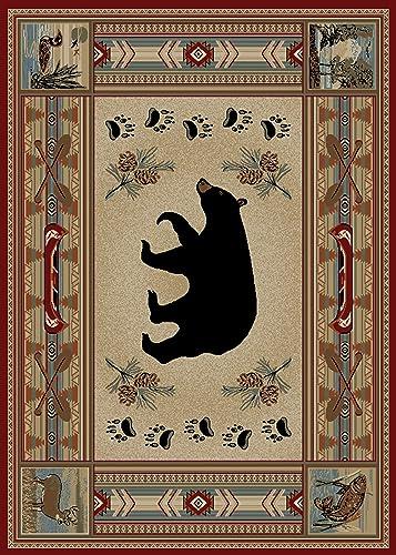 Rug Empire Rustic Lodge Bear 8 x 10 Area Rug