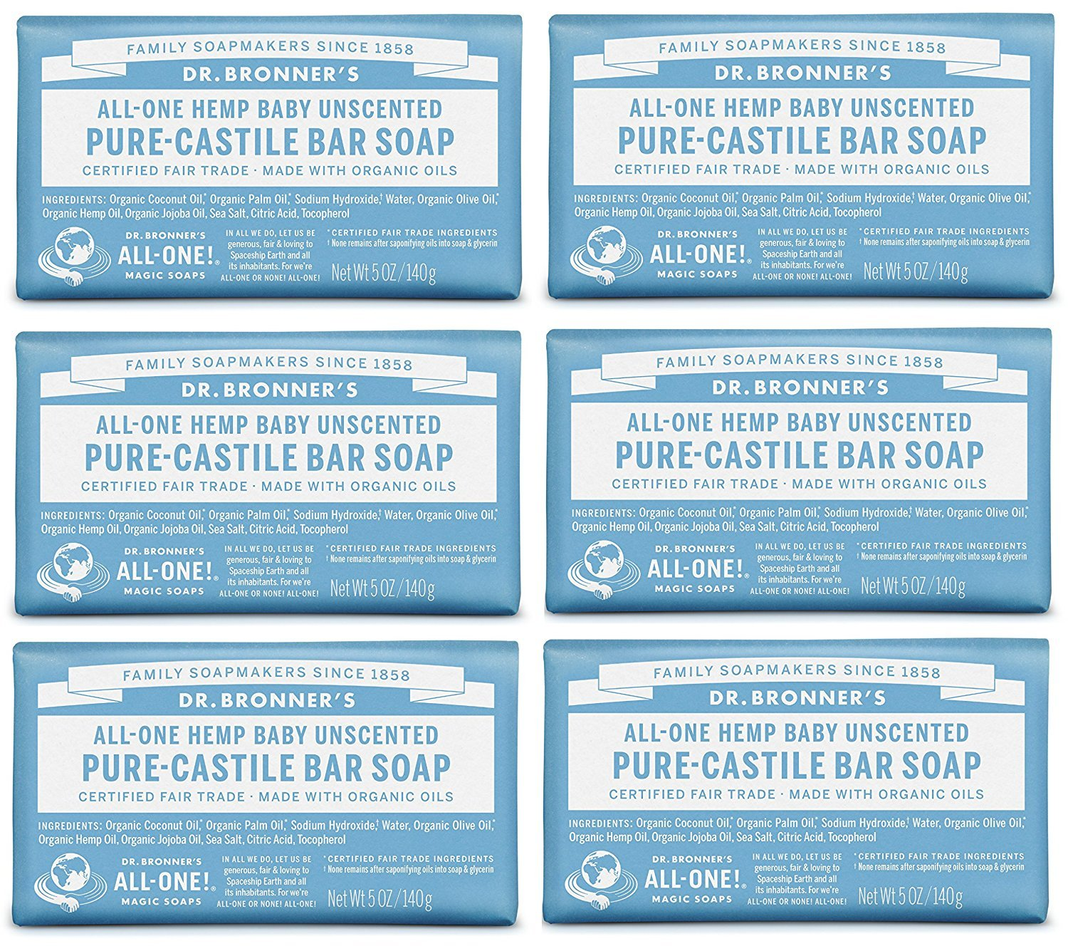 Dr. Bronner 'S Magic Soaps Pure-Castile Soap, All-One Unscented Baby-Mild, 5-Ounce Bars (Pack Of 6) Dr. Bronner' s
