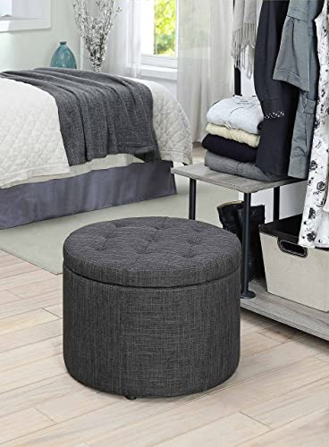 Convenience Concepts Designs4Comfort Round Shoe Ottoman, Gray Fabric