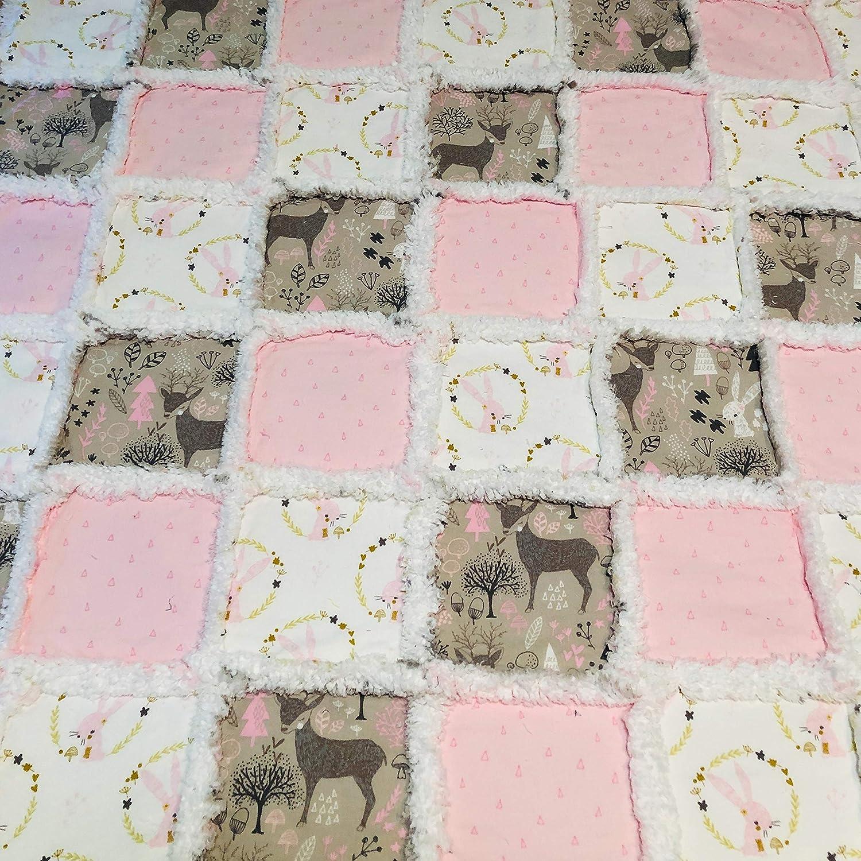 mint animals Baby girl rag quilt shabby chic polka dots