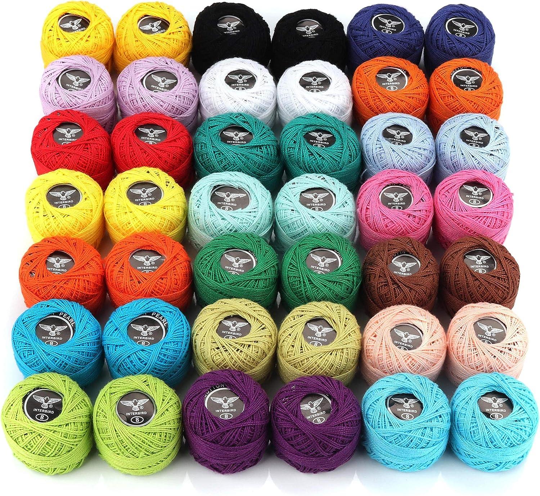 Hilos de Ganchillo (42 Piezas) - Colores Variados Hilado de algodón 1470 Medidor en Total - 5 g crochet Hilo para Bordar, Patrones, Artesanía Hecha a Mano (0.8 mm Grosor): Amazon.es: Hogar