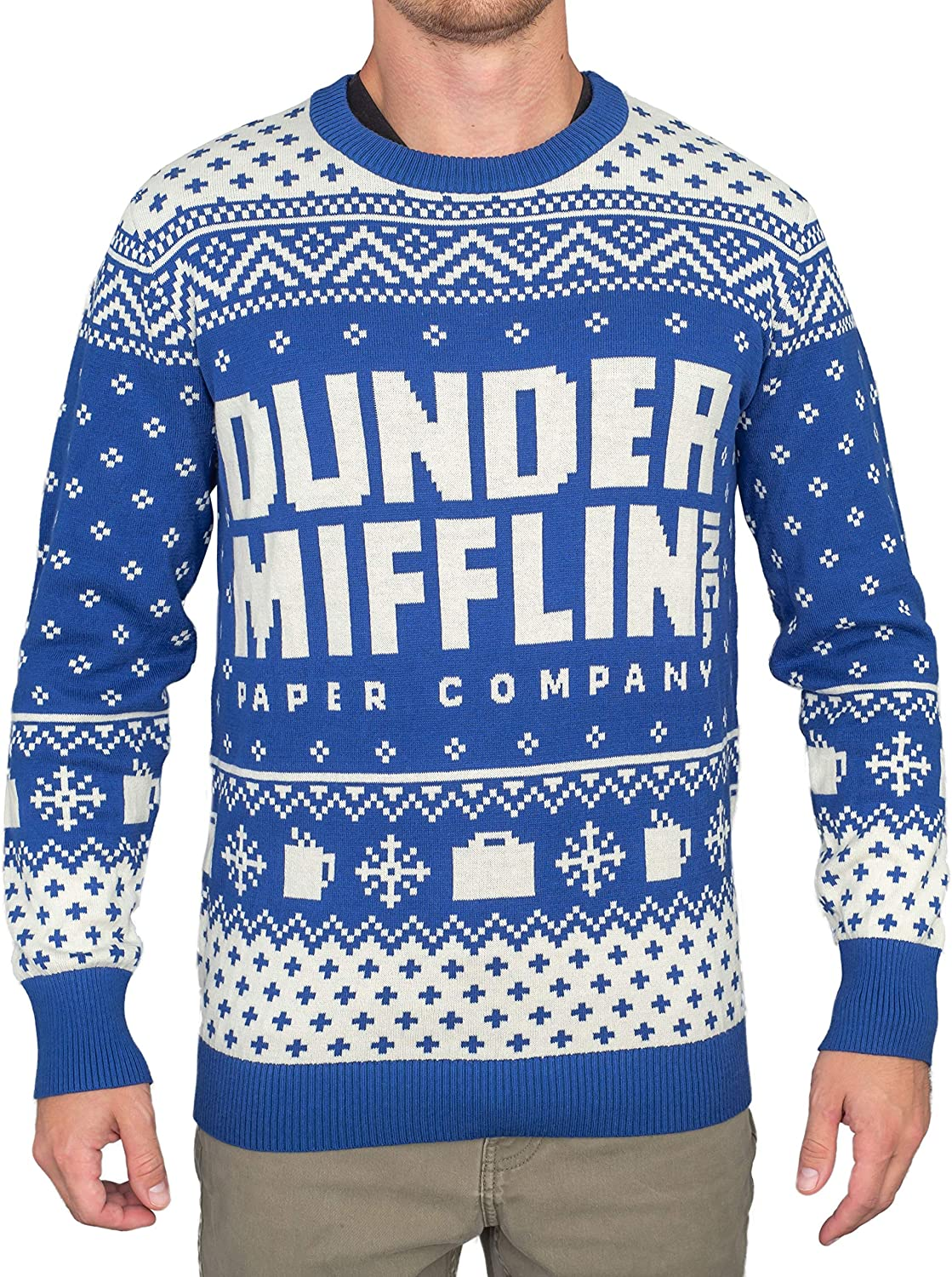 Ripple Junction The Office Dunder Mifflin Blue Ugly Christmas Sweater