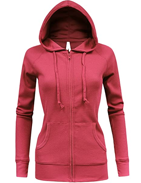 BEKDO Womens Solid Lightweight Mirco Waffle Thermal Zip Up Hoodie  Jacket-S-Coral 4818e13ce4b