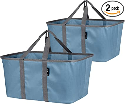 Amazon Com Clevermade Collapsible Fabric Laundry Baskets Foldable Pop Up Storage Container Organizer Bags Large Rectangular Space Saving Clothes Hamper Tote With Carry Handles Pack Of 2 Denim Home Improvement